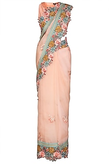 Pink Embroidered Saree Set by Varun Bahl Pret