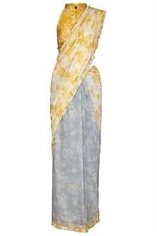 Yellow & Blue Printed Saree Set by Varun Bahl Pret