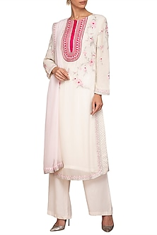 Ivory Embroidered Kurta Set by Varun Bahl Pret