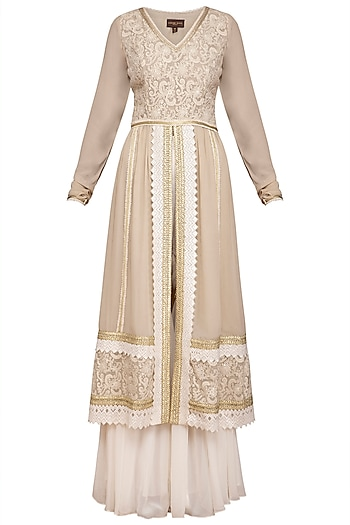Ivory Embroidered Sharara Set by Varun Bahl Pret