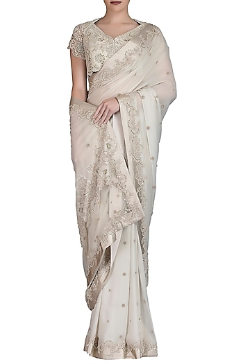 Ivory Embroidered Saree Set by Varun Bahl