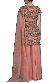 Old Rose Embroidered Sharara Set by Varun Bahl