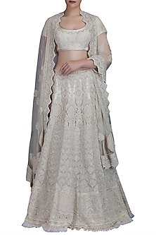 Ivory Embroidered Lehenga Set by Varun Bahl