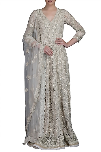 Ivory Embroidered Anarkali With Jacket & Dupatta by Varun Bahl