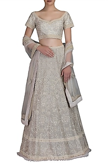 Ivory Embroidered Chanderi Lehenga Set by Varun Bahl