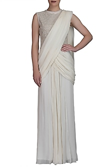 Ivory Embroidered Saree Gown by Varun Bahl