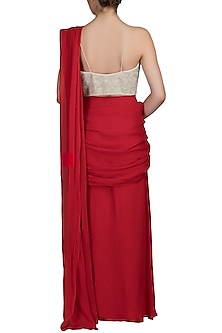 Red Embroidered Pre-Stitched Saree Set by Varun Bahl