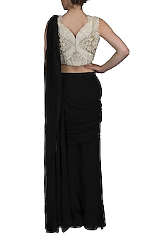 Black Embroidered Pre-Stitched Saree Set by Varun Bahl