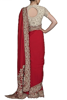 Red Embroidered Georgette Saree Set by Varun Bahl