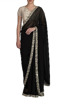 Black Embroidered Saree Set by Varun Bahl