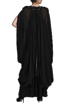 Black Chiffon Cowl Dress by Varun Bahl