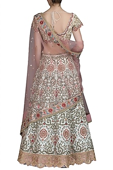 Ivory Embroidered Raw Silk Lehenga Set by Varun Bahl