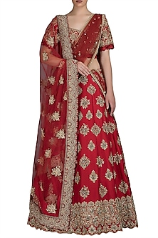 Red Embroidered Raw Silk Lehenga Set by Varun Bahl