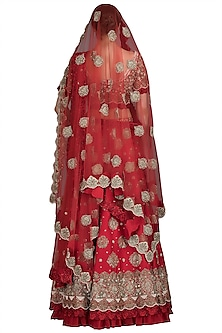 Red Embroidered Silk Lehenga Set by Varun Bahl