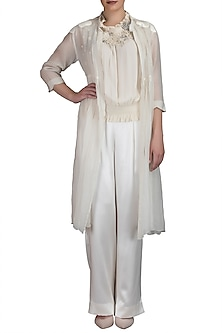 Ivory Embroidered Smocking Top With Pants & Jacket by Varun Bahl
