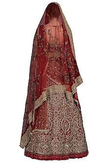 Red Embroidered Lehenga Set With Two Dupattas by Varun Bahl