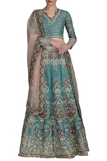 Turquoise Embroidered Lehenga Set by Varun Bahl