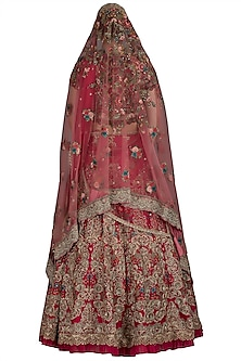 Red Signature Embroidered Lehenga Set With Two Dupattas by Varun Bahl