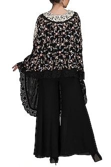 Black Embroidered Cape With Pants by Varun Bahl