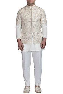 Ivory Kurta Set With Bundi Jacket by Varun Bahl Men