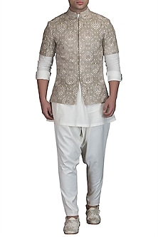 Ivory Kurta Set With Embroidered Bundi Jacket by Varun Bahl Men