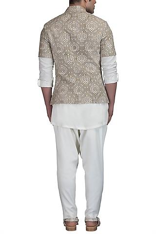 Ivory Kurta Set With Embroidered Bundi Jacket by Varun Bahl Men