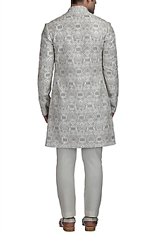 Ivory Embroidered Sherwani Set by Varun Bahl Men