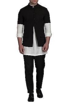 Ivory Kurta Set With Black Bundi Jacket by Varun Bahl Men