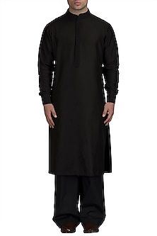 Black Silk Kurta Set by Varun Bahl Men