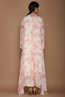 Pink Embroidered Printed Cape With Ivory Tunic & Pants by Varun Bahl