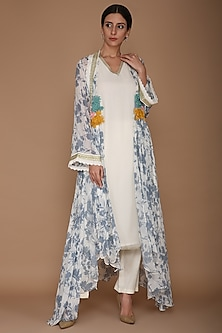 Blue Embroidered Printed Cape With Ivory Tunic & Pants by Varun Bahl