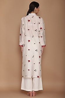 Ivory & Red Embroidered Kurta Set by Varun Bahl