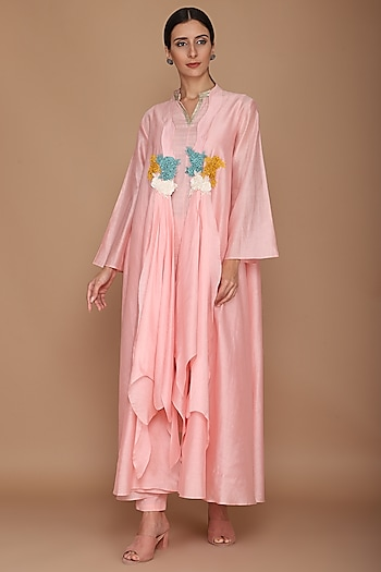 Pink Embroidered Cape With Tunic & Pants by Varun Bahl
