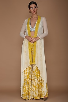 Yellow Printed Sharara Pants With Blue Embroidered Blouse & Cape by Varun Bahl