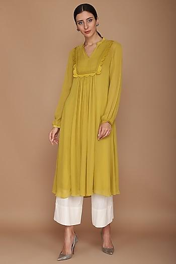 Mustard Green Frill Kurta With Pajama Pants by Varun Bahl
