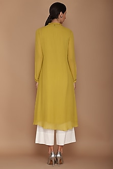 Mustard Green Frill Kurta With Pajama Pants by Varun Bahl