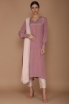 Mauve & Pale Pink Embellished Kurta Set by Varun Bahl