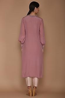 Mauve & Pale Pink Embellished Kurta Set by Varun Bahl