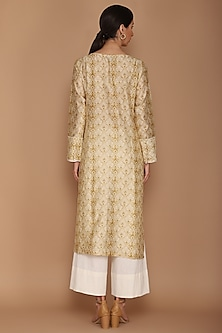 Beige Printed Kurta Set by Varun Bahl