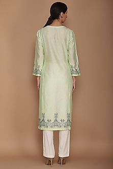 Mint Green Printed Kurta Set by Varun Bahl