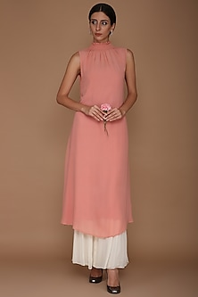 Light Pink Tunic With Gharara Pants by Varun Bahl