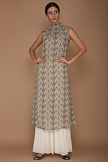 Blue Printed Tunic With Gharara & Slip by Varun Bahl