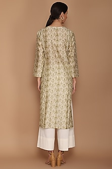 Green Printed Kurta Set by Varun Bahl
