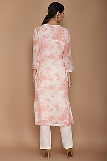 Pink & Ivory Floral Printed Tunic Set by Varun Bahl