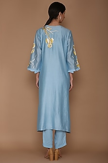 Powder Blue Embroidered Tunic Set by Varun Bahl