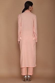 Peach Pink Embroidered Kurta Set by Varun Bahl