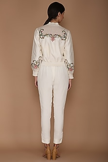 Ivory Embroidered Bomber Jacket With Bustier & Pants by Varun Bahl
