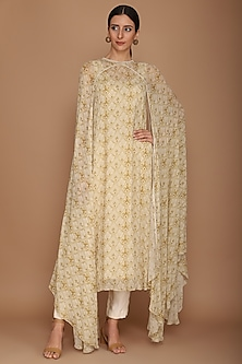 Beige Printed Cape With Ivory Pants & Slip by Varun Bahl