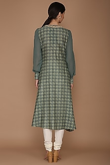 Green Printed Tunic With Pants by Varun Bahl
