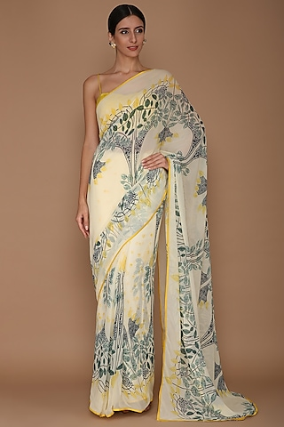Yellow Printed Saree Set by Varun Bahl
